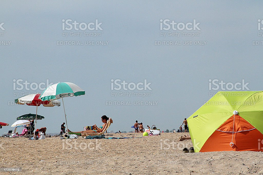I tre dighe Beach/Les Trois Digues Plage, Francia foto stock royalty-free