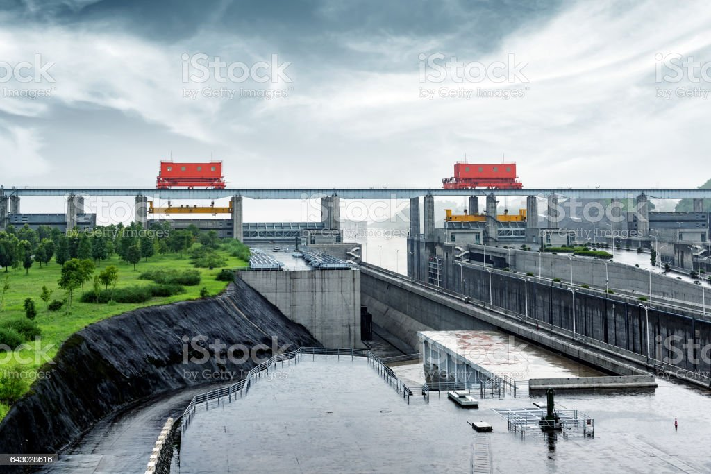 the Three Gorges Dam at Yangtze River in China at evening time stock photo