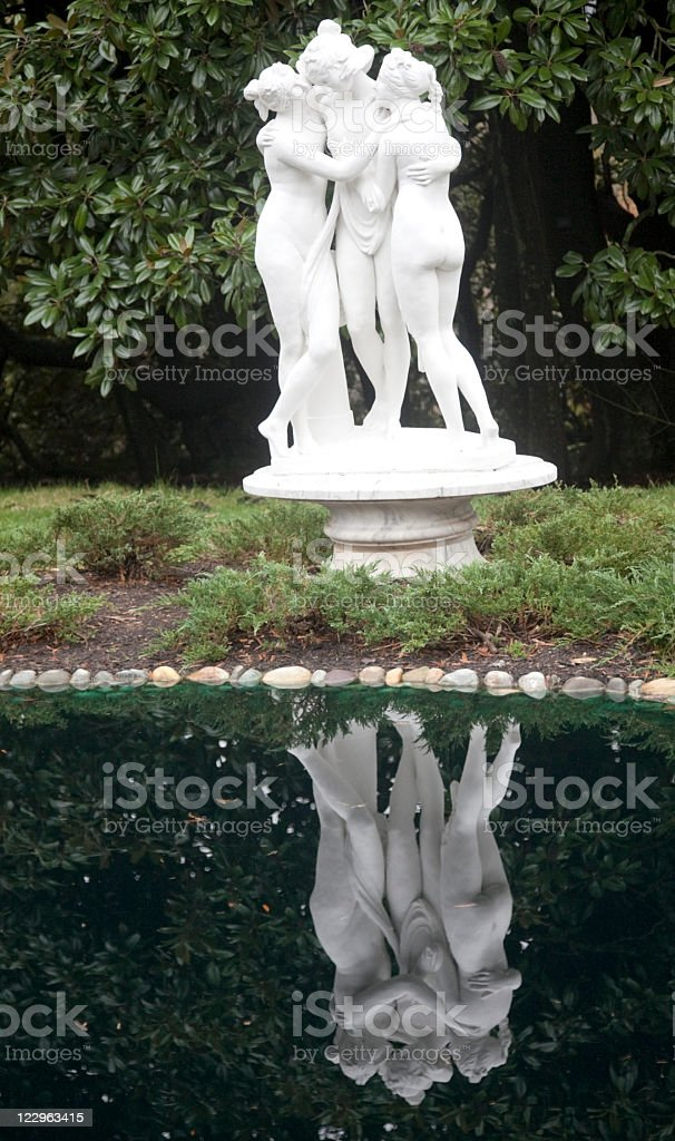 The Three Graces and Reflecting Pool stock photo