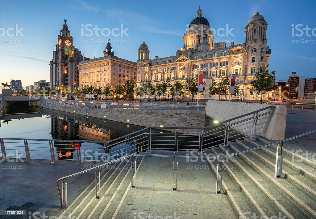 The Three Graces at Pier Head in Liverpool stock photo