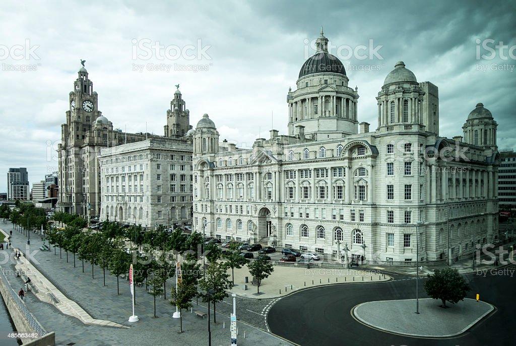 The  'Three Graces' of Liverpool stock photo
