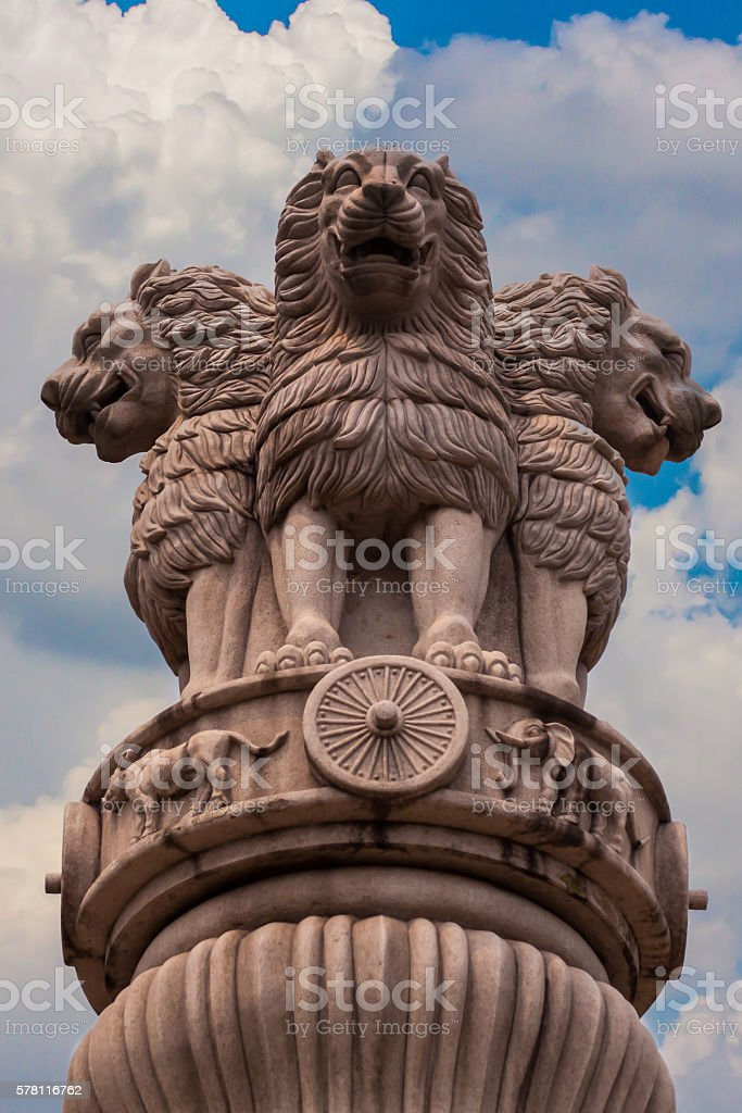 The Three lions sculpture in china. stock photo