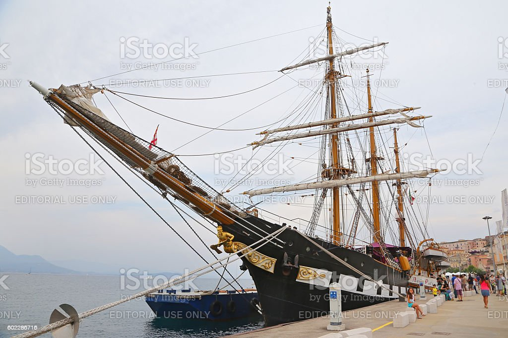The three masted Palinuro, a historic Italian Navy training barquentine stock photo