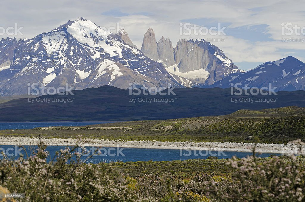 The Three Towers of Paine, Patagonia, Chile stock photo