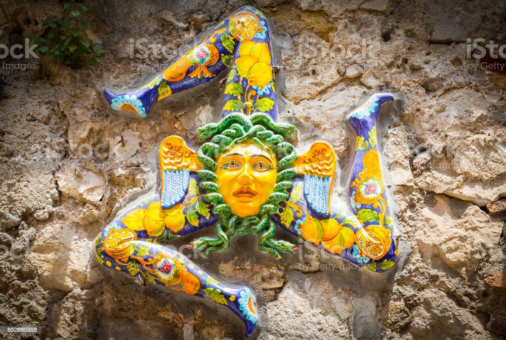 The three-legged symbol of Sicily: Trinacria stock photo
