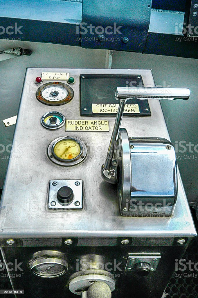 The Throttle mechanism on the ships bridge. stock photo