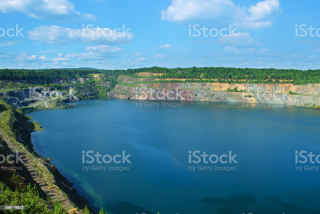 The thrown, flooded open-cast mine stock photo