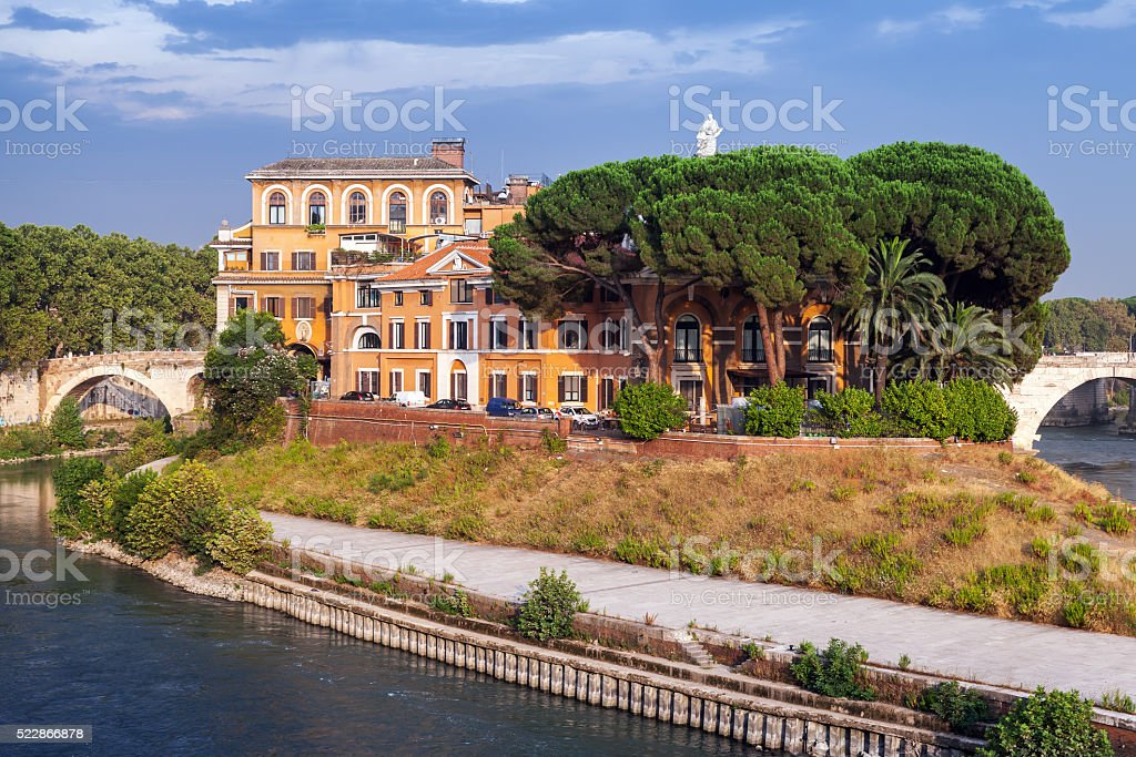 The Tiber Island in southern bend of Tiber river stock photo