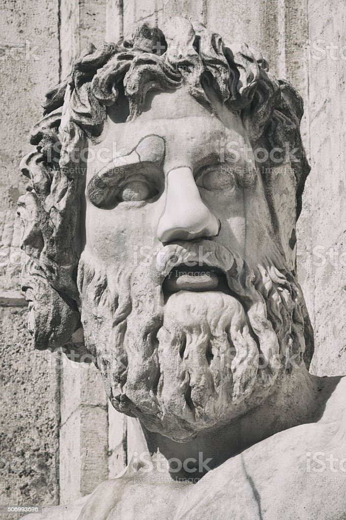 The Tiber River God at Palazzo Senatorio in Rome, Italy stock photo