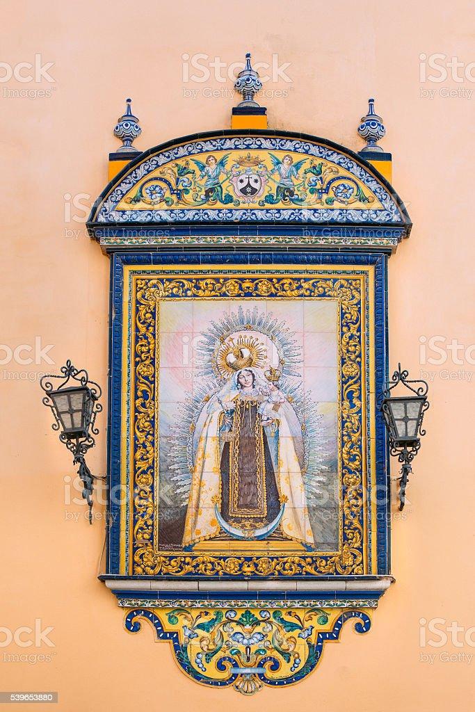 The tiled icon wall oldest city Church of Santa Ana, stock photo