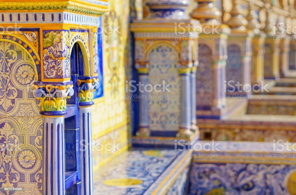 The tiles of the Spain Square stock photo