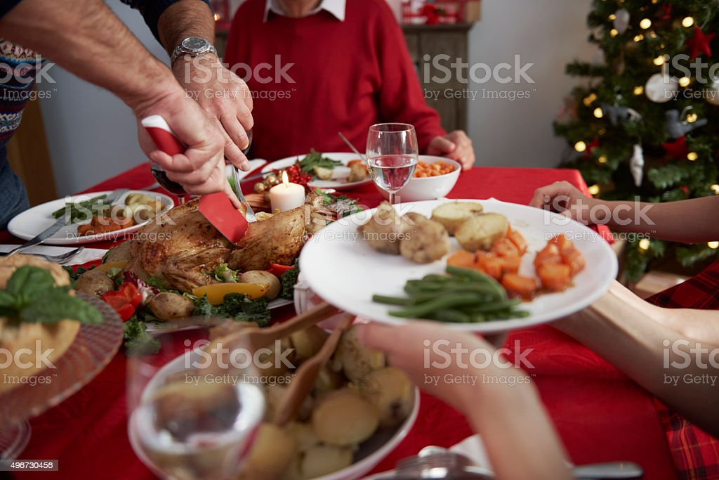 The time to start eating the dinner stock photo