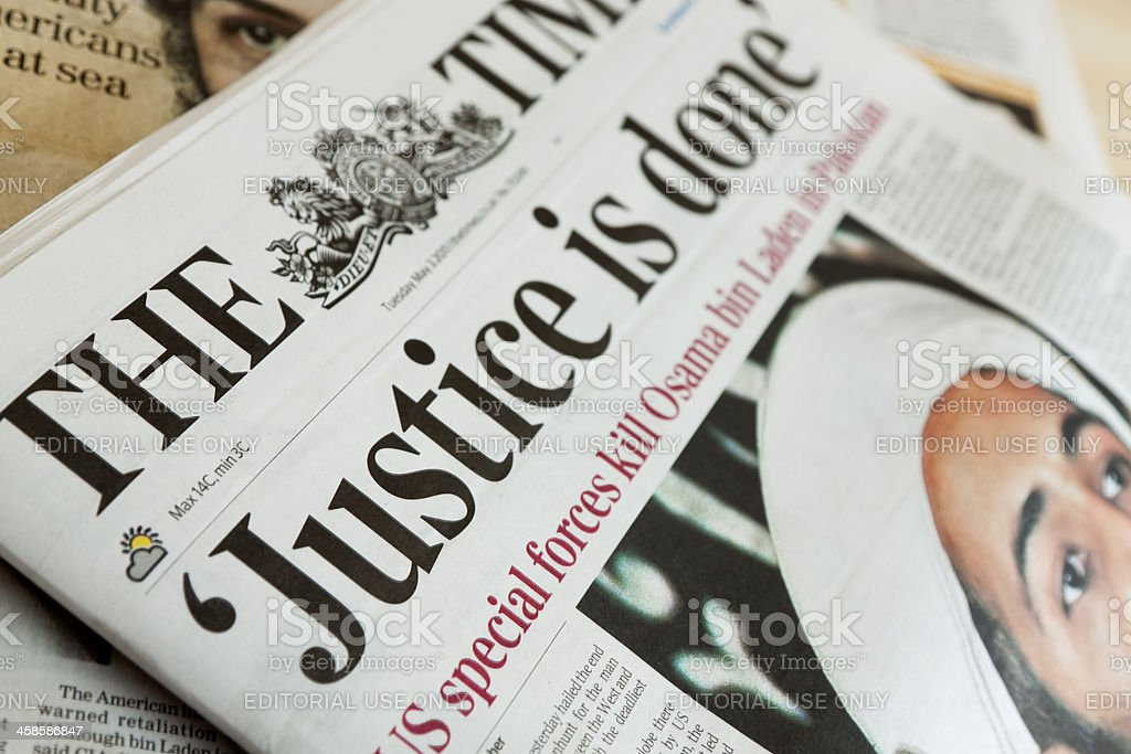 The Times newspaper reports on Osama bin Laden's death. stock photo