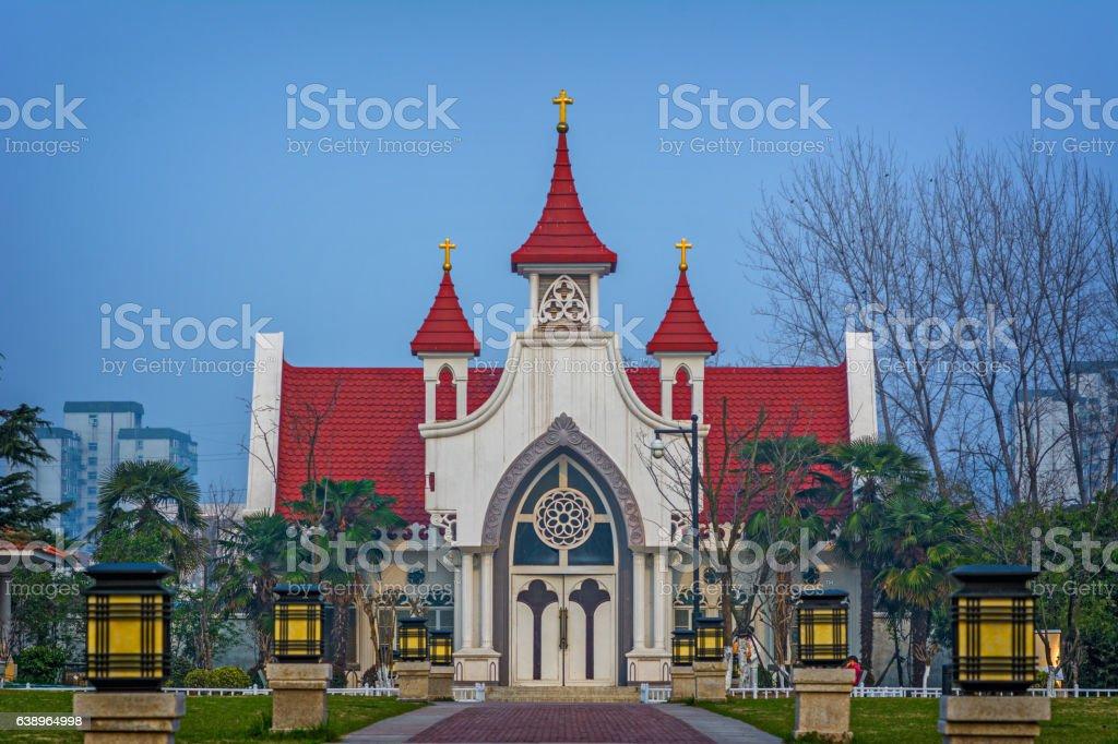 the tiny Church in  the Couple Garden stock photo