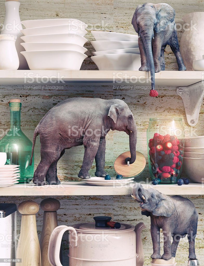 The tiny elephants stock photo