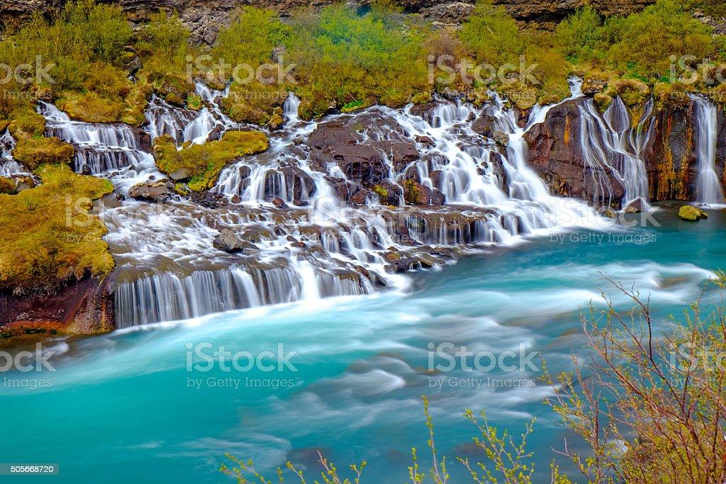 The tiny Hraunfossar falls, Iceland stock photo