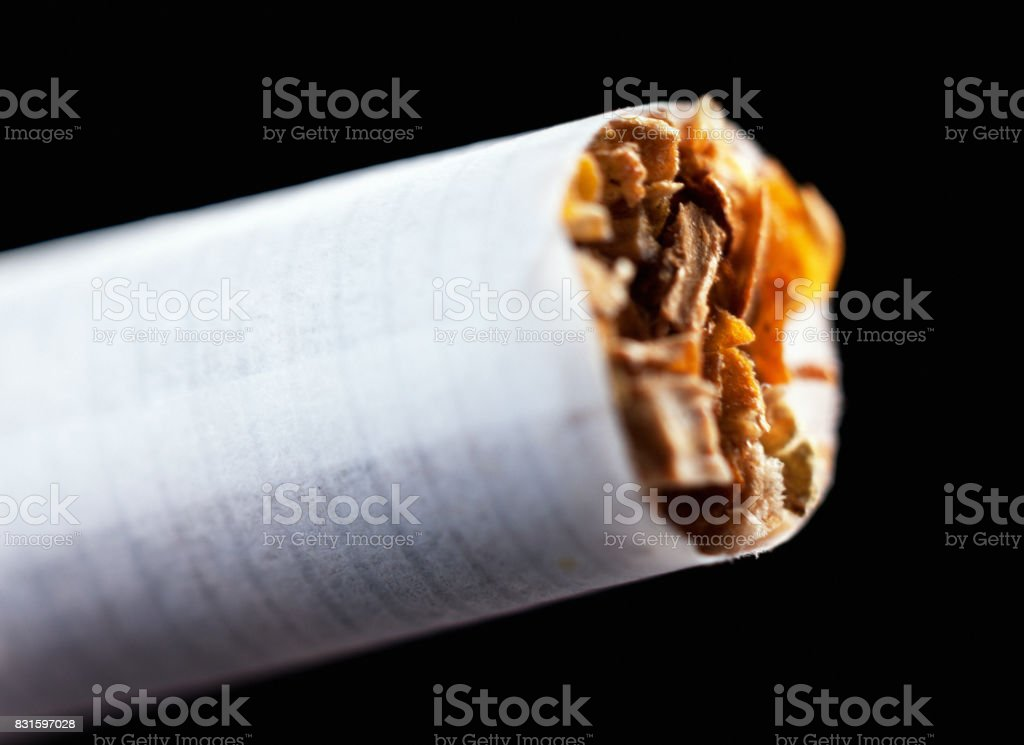 The tip of an unlit cigarette in extreme close up stock photo