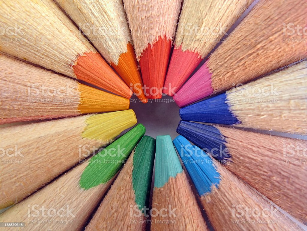 The tips of colored pencils - macro royalty-free stock photo
