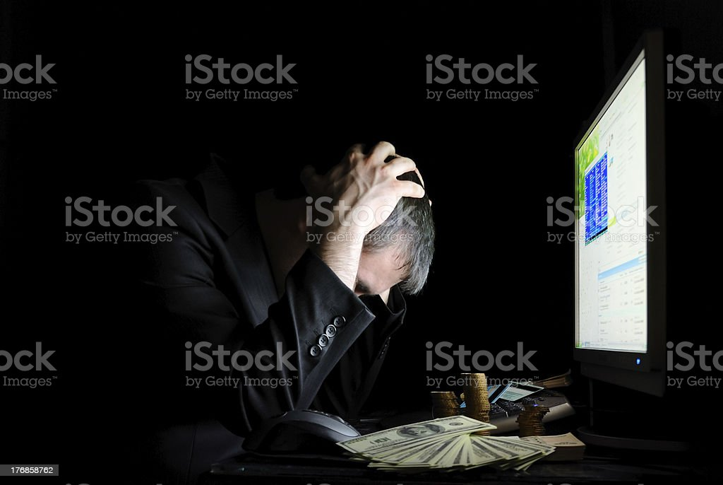 The tired user in front of display royalty-free stock photo