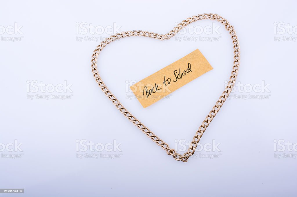 The  title back to school in heart stock photo