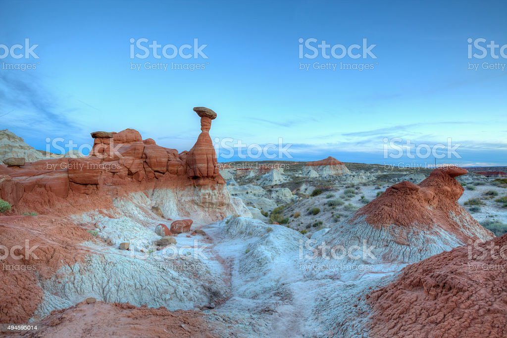 The Toadstools Hoodoo Rock Formation after Sunset stock photo