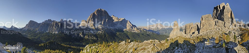 The Tofane and Cinque Torri (Dolomites - Italy) stock photo