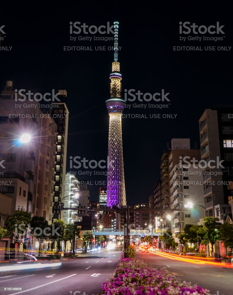 The Tokyo Skytree is lighten up at night. stock photo