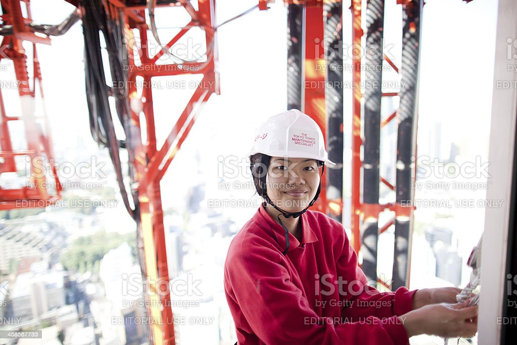 The Tokyo Tower maintenance specialist stock photo