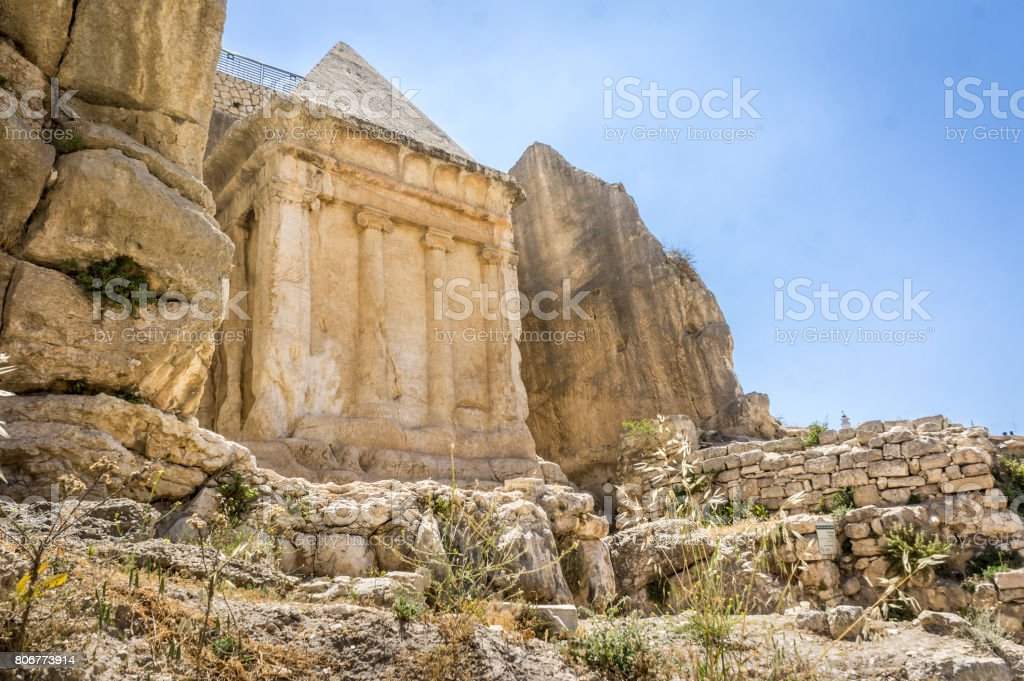 The Tomb of Zechariah in Jerusalem, Israel stock photo