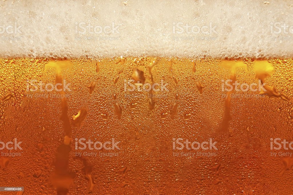 The top layer of foam forming on a newly-poured beer stock photo