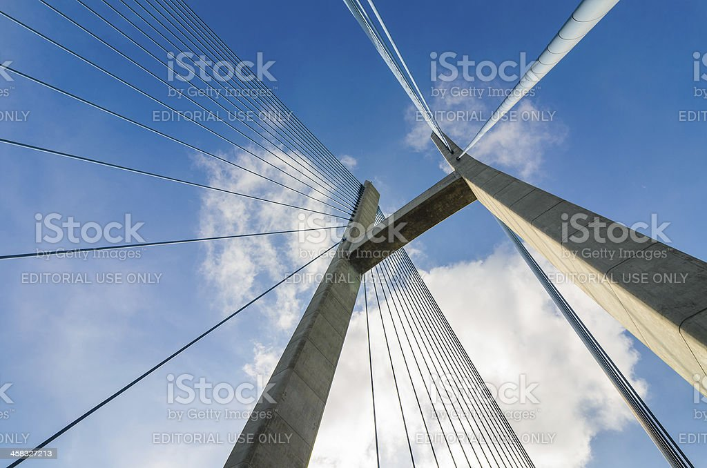 The top of cable-stayed bridge royalty-free stock photo
