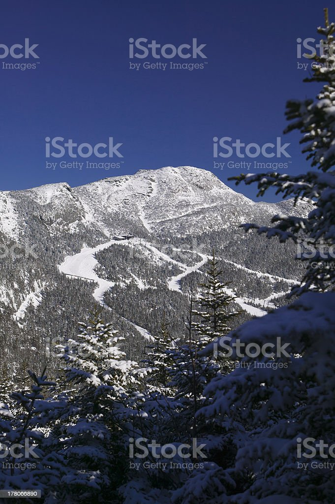 The top of Mt. Mansfiled in winter. stock photo