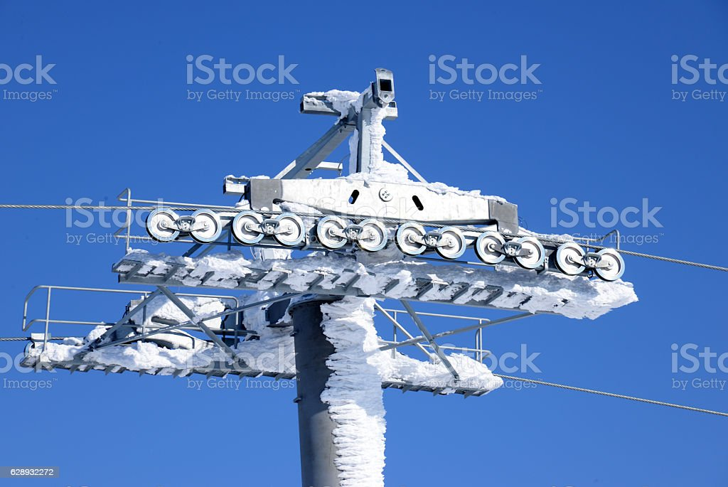 The top of ski-lift  in winter mountain stock photo