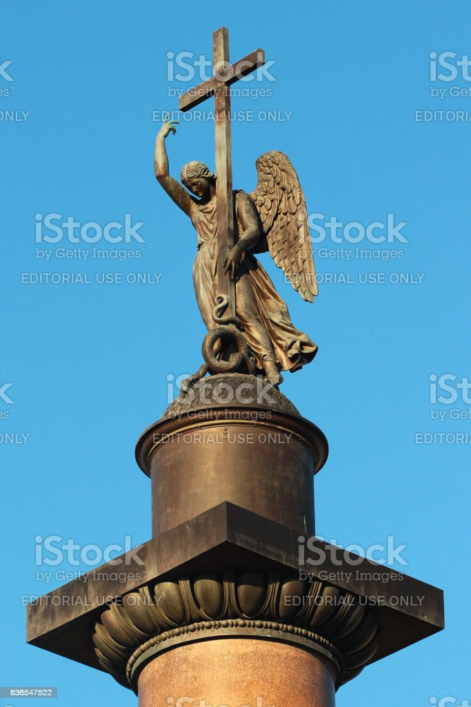 The top of the Alexander Column on Palace Square in St. Petersburg, Russia stock photo