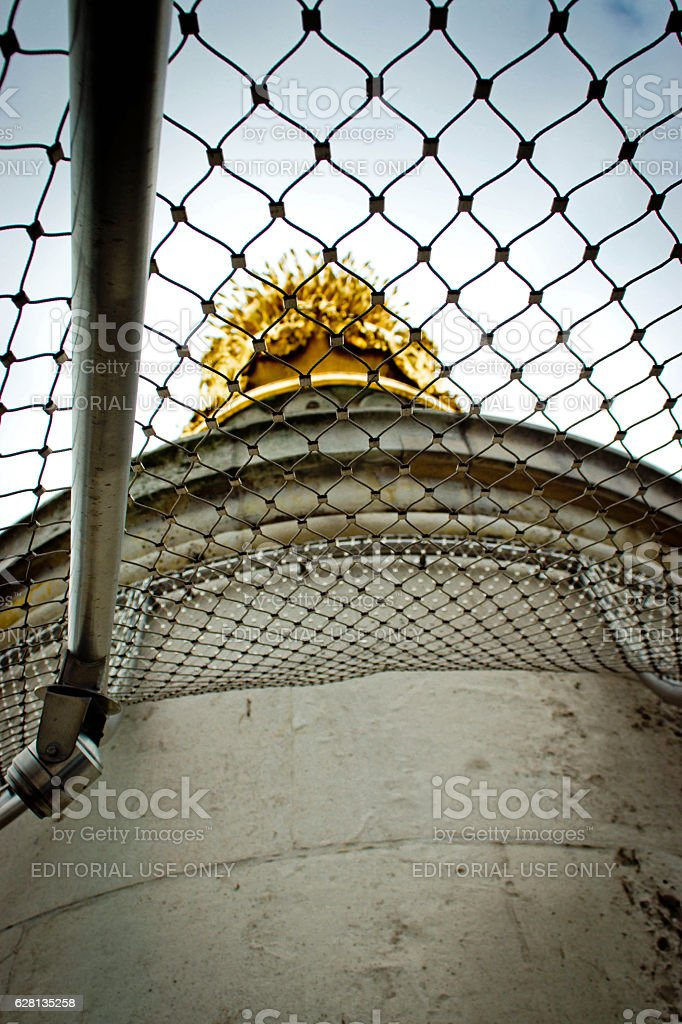 The top of The Monument column in London stock photo