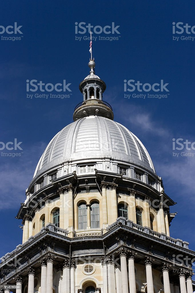 The top of the state Capitol building of Illinois stock photo
