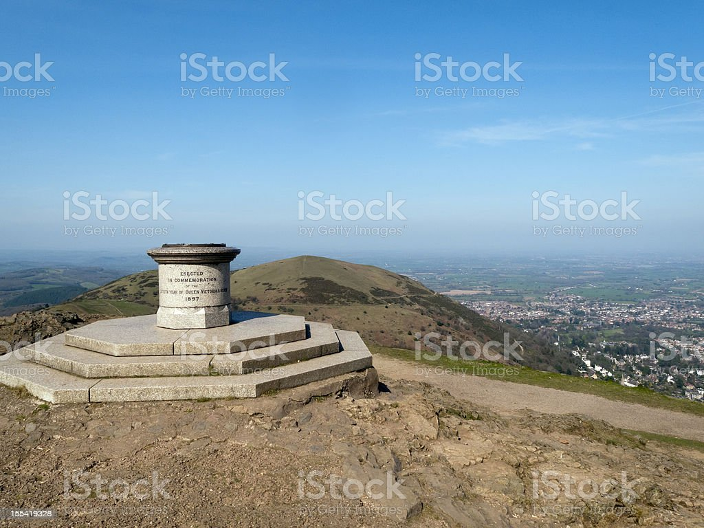 The toposcope and memorial on Worcestershire Beacon, Malvern Hills , UK stock photo