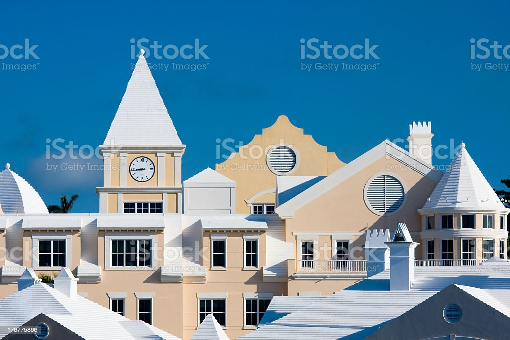 The tops of beige condominiums in Bermuda stock photo