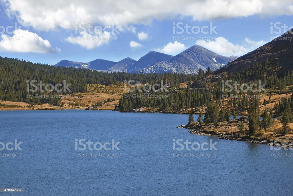 The tops of mountains and azure lake royalty-free stock photo
