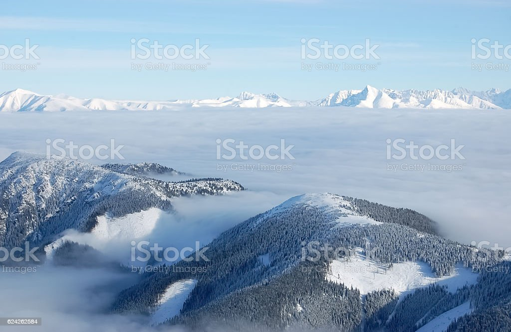 The tops of the Low and High Tatras. stock photo