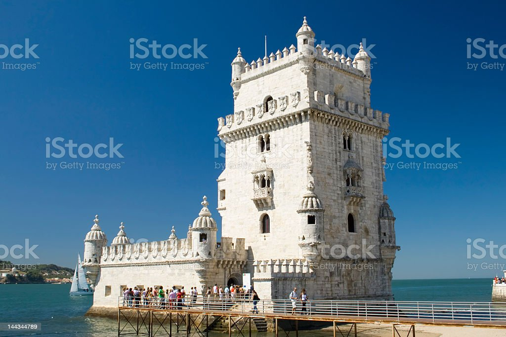 The Torre de Belem in Lisboa, Portugal on a clear sunny day stock photo
