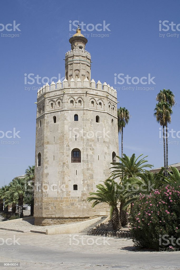 The Torre del Oro historic military watchtower in Seville. stock photo