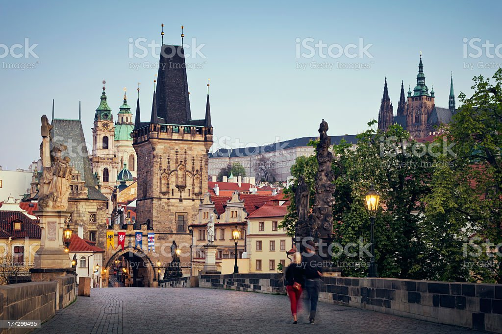 The tourist attraction of Charles Bridge in Prague royalty-free stock photo