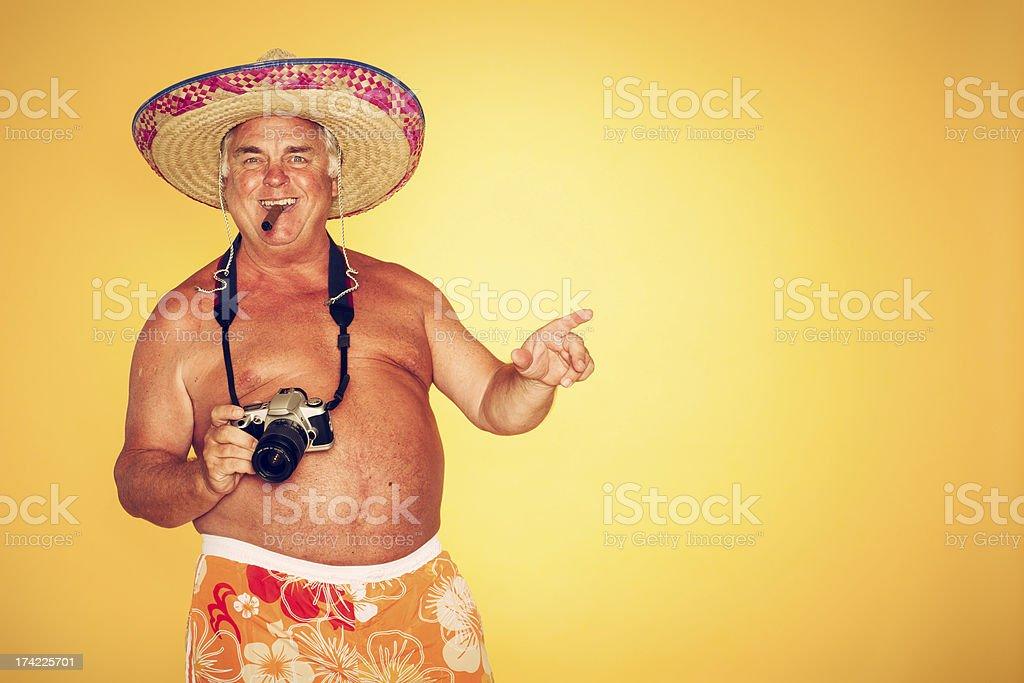 The Tourist - Cigar Cool Camera Sombrero Humor Hawaiian royalty-free stock photo
