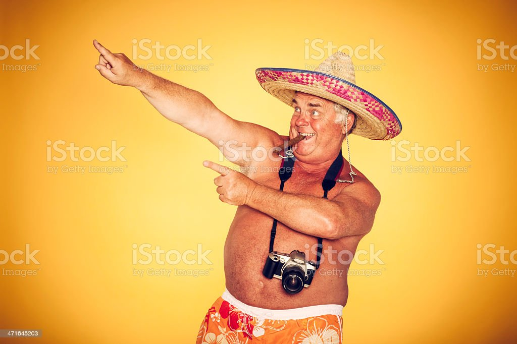 The Tourist - Cigar Cool Camera Sombrero Humor Hawaiian stock photo