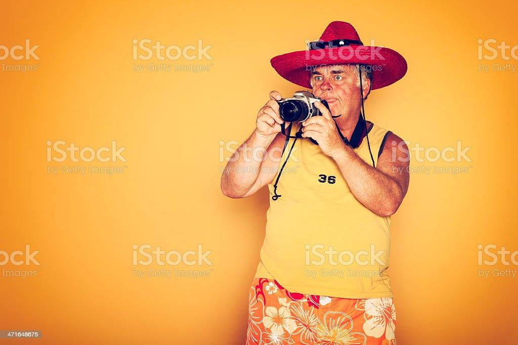 The Tourist - Cool Camera Sombrero Humor Hawaiian royalty-free stock photo