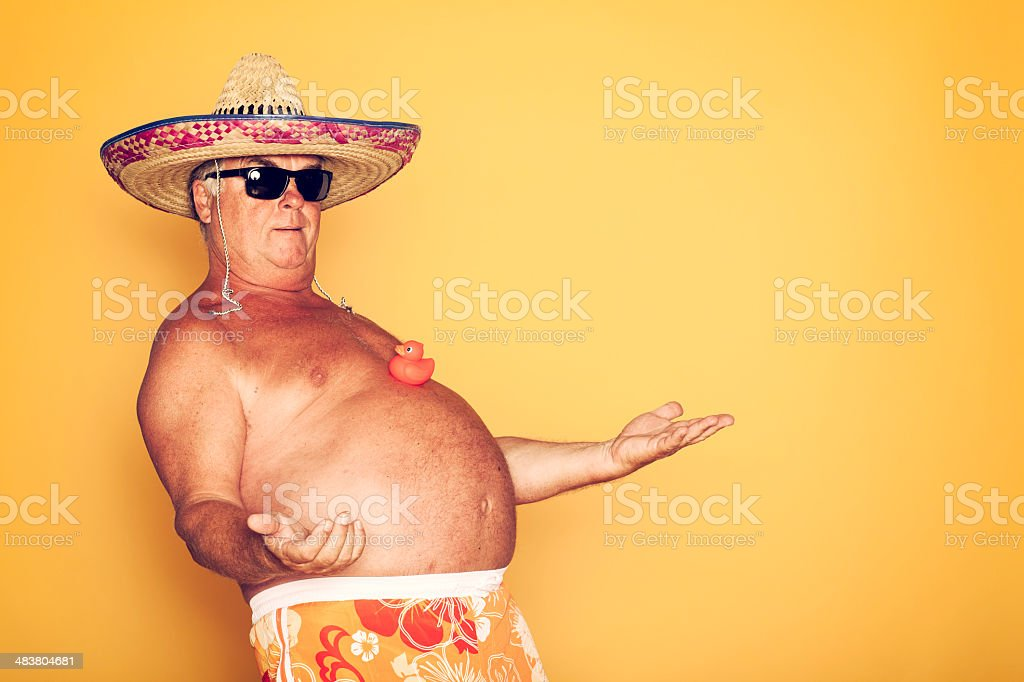 The Tourist - Cool Rubber Duck Sombrero Humor Hawaiian stock photo