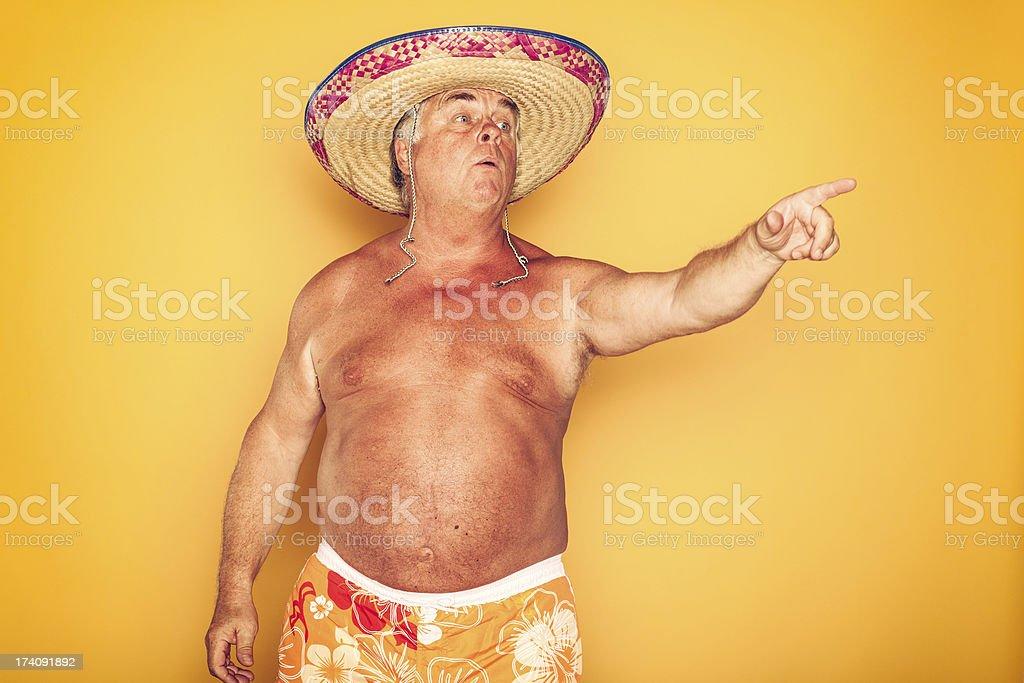 The Tourist - Cool Sombrero Humor Hawaiian royalty-free stock photo
