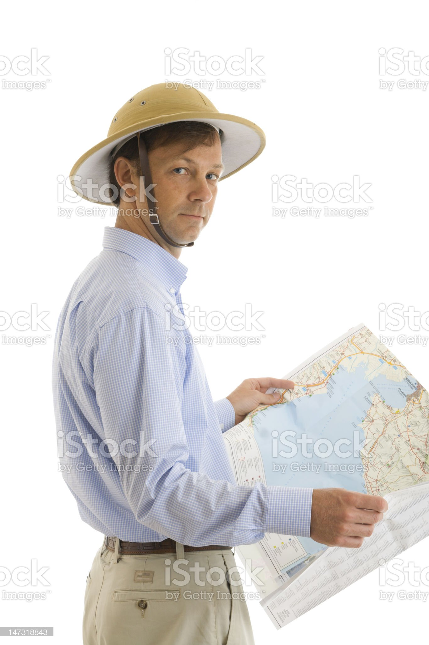 The tourist with a map royalty-free stock photo