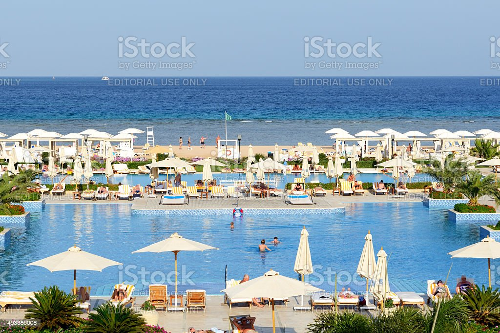 The tourists are on vacation at luxury hotel stock photo